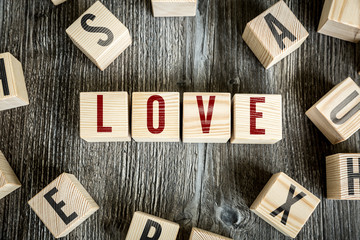 Wooden Blocks with the text: Love