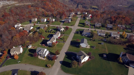 An aerial shot of a typical western Pennsylvania residential neighborhood in late Autumn.