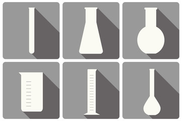 vector set of laboratory glassware flat icons: tubing, beaker, measurement glass