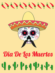 vector card with a decorated human skull in sombrero and text Dias de Los Muertos