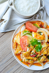 Spicy salad with fried eggs, Thai Spicy Food, Thai Cuisine, Heal