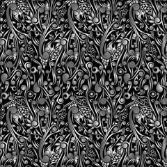 Wallpaper Batik Floral with Black Swirl Shape