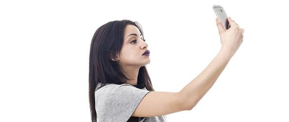 Beautiful woman profile portrait taking a selfie letterbox