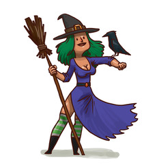 Vector cartoon image of a pretty witch with green hair in a purple dress, green striped golfs and black pointed hat with brown broom and a black crow on a white background.