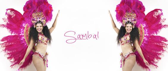 Samba dancer wearing pink costume letterbox