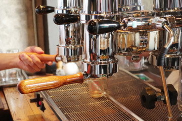 coffee machine preparing cup of coffee.