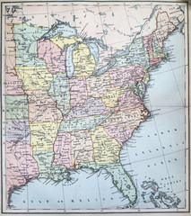 Victorian era map of Eastern States of USA