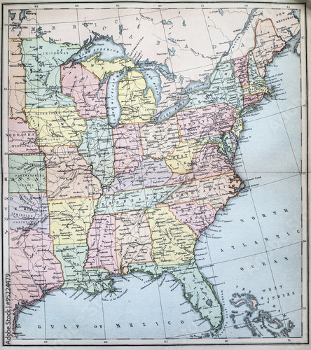 Map Of Victorian England.Victorian Era Map Of Eastern States Of Usa Stock Photo And Royalty
