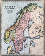 Map of 19th Century Sweden and Norway