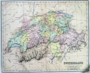 Map of 19th Century Switzerland