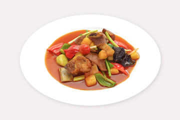 Sweet and sour sauce fried with pork and vegetable