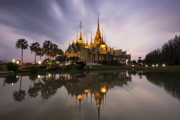 Landmark wat thai, sunset in temple at Wat None Kum in Nakhon Ratchasima province Thailand .