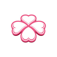 Pink Heart Four Leaf Clover Icon