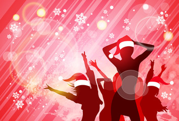 Christmas New Year Party Dancing Girl Poster, People Silhouettes Wear Red Santa Hat Dance