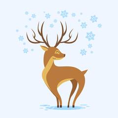 Reindeer Winter Background Cartoon Deer