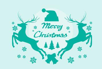 Reindeer Silhouette Mery Christmas Poster