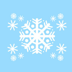 Snowflake White Flat Icon Over Blue Winter Background