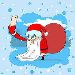 Santa Clause Christmas Taking Selfie Photo On Smart Phone