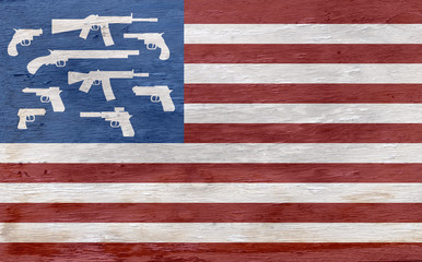 american flag with guns instead of stars on wood grain