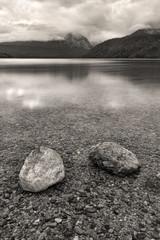 B&W of boulders in Redfish Lake.