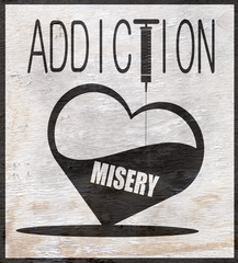 addiction sign with wood grain texture