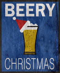 funny beer holiday design with wood grain texture