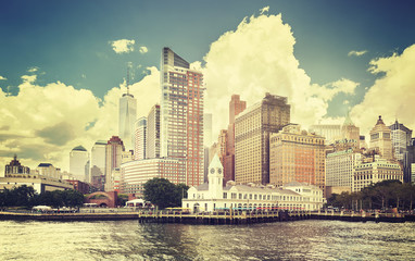 Vintage toned picture of New York waterfront, USA.