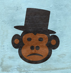 monkey with top hat design with wood grain texture