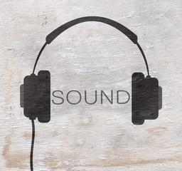 headphones design with wood grain texture