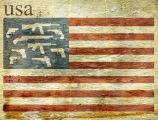 american flag with guns on wood grain