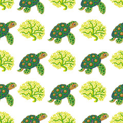 Seamless pattern with tropical turtle and coral