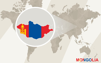Zoom on Mongolia Map and Flag. World Map.