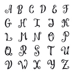 Hand drawn vector alphabet.
