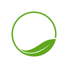 Organic Leaf Circle Simple Emblem Logo Template