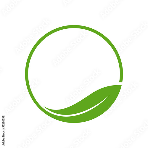 Organic Leaf Circle Simple Emblem Logo Template Stock Image And
