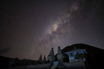 Milky way over Temple at Bromo mountain Java, Indonesia.