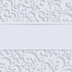 Wektor biały 3d Vintage Boże Narodzenie lub tło karty zaproszenie z wirowa wzór adamaszku