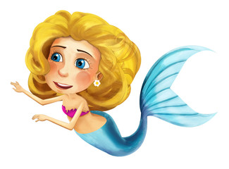 Cartoon mermaid - isolated - illustration for the children