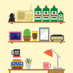 Teenager room workplace vector illustration