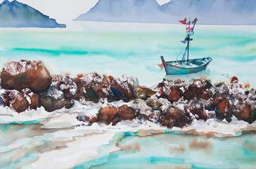 Beautiful sea with boat, watercolor painting