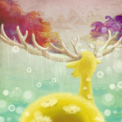 Illustration: Artwork: The Sika Deer's World. The Creature is Recognizing the Path. Raining. Colorful Clouds Grow from Antlers. Realistic Cartoon Style Scene / Wallpaper / Background Design.