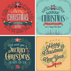 Wall Mural - Christmas set - typographic cards for your design.