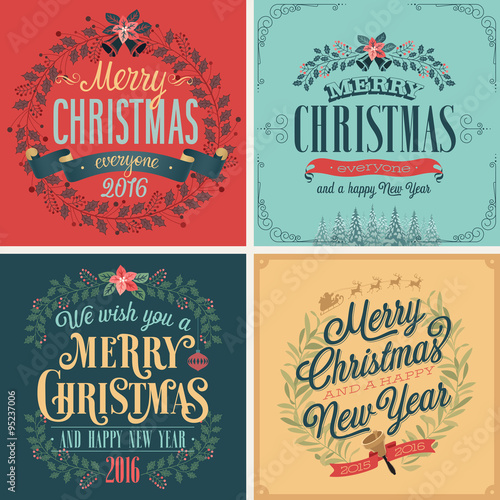 Wall mural Christmas set - typographic cards for your design.