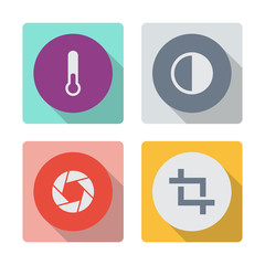 Buttons with shadow. Test-tube vector icon. Brightness and contrast vector icon. Camera shutter icon. Crop vector icon.