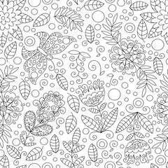 Vector flowers, leaves and butterfly seamless pattern.