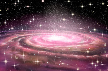 Fototapete - Spiral Galaxy in deep spcae, 3D illustration