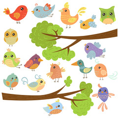 Birds on Different Branches. Vector Illustration