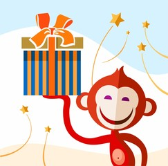 Monkey with a present, color picture.