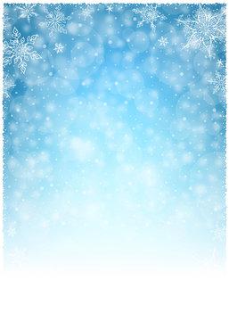 Christmas Winter Frame - Illustration. Vector illustration of Christmas Winter Background. Christmas White Blue - Empty Background Portrait.