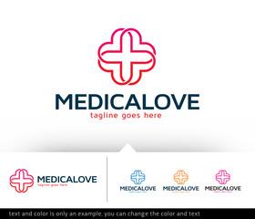 Medical Love Logo Template Vector Design